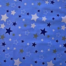 Tkanina Flanela gwiazdozbiór biało granatowo szary na niebieskim tle