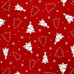 Tkanina Wzór świąteczny choinki białe na szarym tle