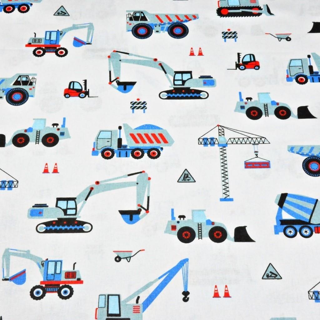 Tkanina w Roboty budowlane niebieskie na białym tle