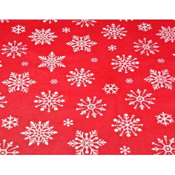 Tkanina wzór świąteczny śnieżynki duże białe na czerwonym tle