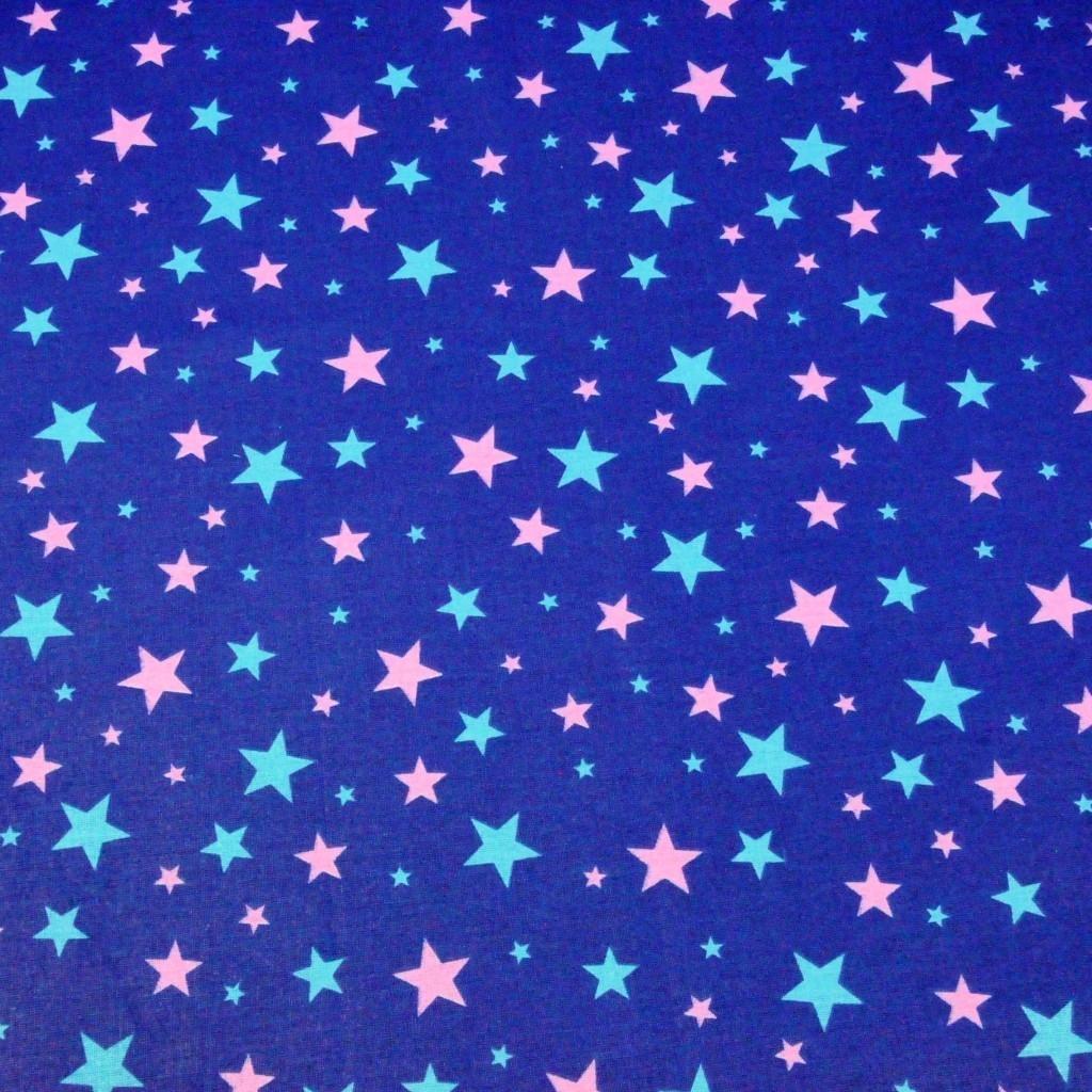 Tkanina w gwiazdki nowe małe i duże miętowo różowe na granatowym tle