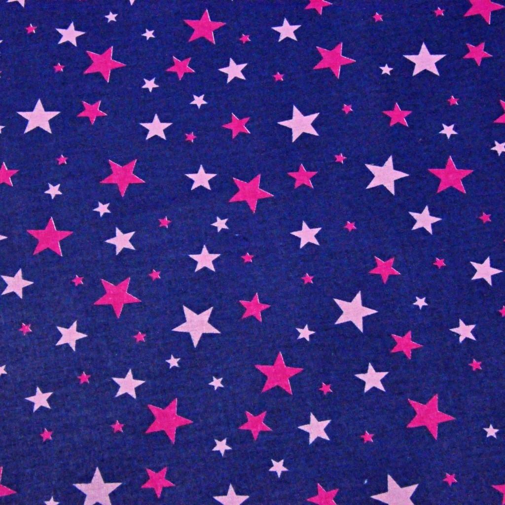 Tkanina w gwiazdki nowe małe i duże różowe ciemne i jasne na granatowym tle