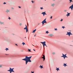 Tkanina Flanela w gwiazdki biało granatowe na różowym tle