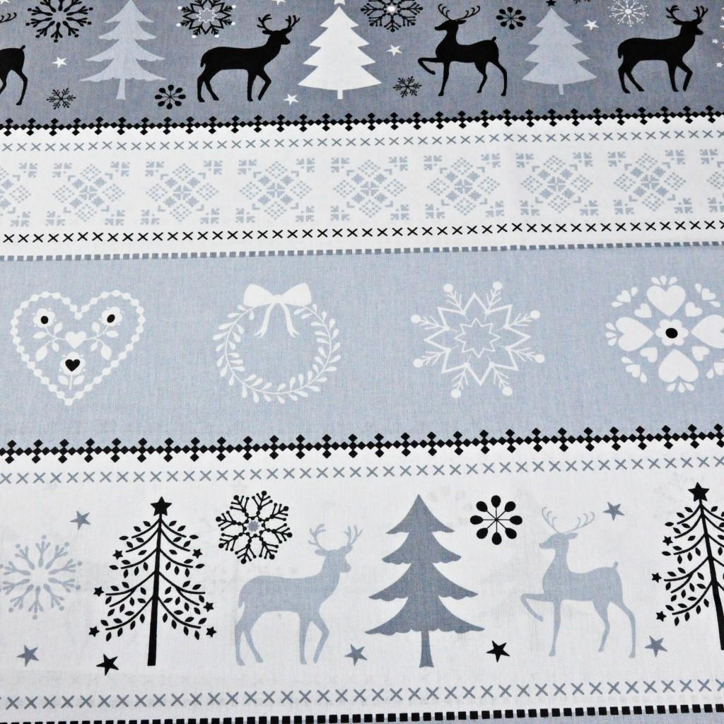 Tkanina Wzór świąteczny sweter szaro biały