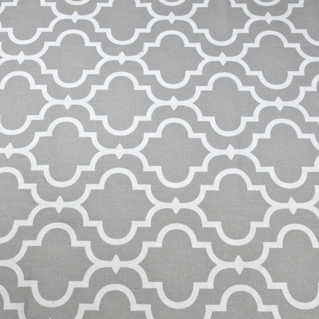 Tkanina Mozaika orientalna biała na szarym tle