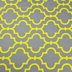 Tkanina Mozaika orientalna żółta na szarym tle