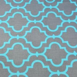 Tkanina Mozaika orientalna turkusowa na szarym tle