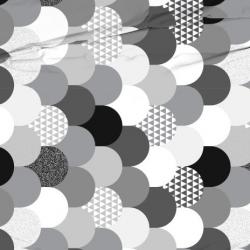 Tkanina patchwork biało szary w łuski