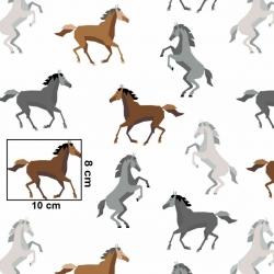 Tkanina w konie szaro brązowe na białym tle