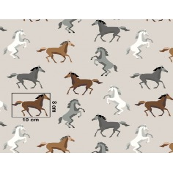 Tkanina w konie szaro brązowe na beżowym tle