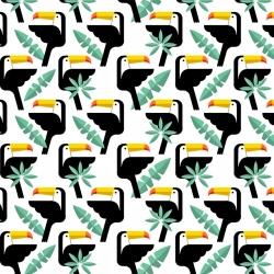 Tkanina w tukany z listkami na białym tle