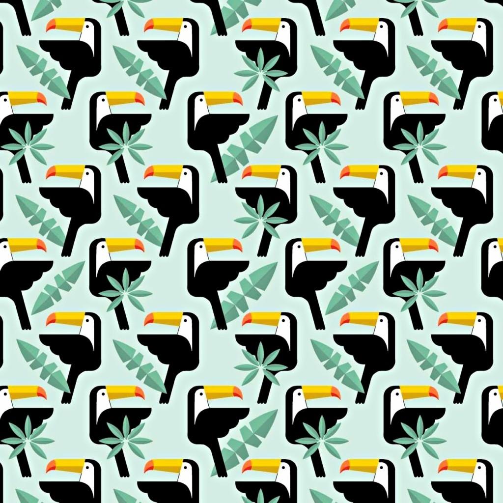 Tkanina w tukany z listkami na miętowym tle