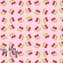 Tkanina w wisienki na różowym tle