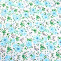 Tkanina w kwiatki z motylkami błękitno zielone na białym tle