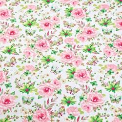 Tkanina w kwiatki z motylkami różowo zielone na białym tle