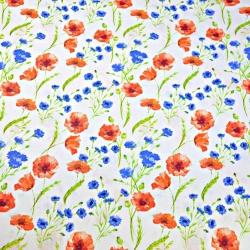 Tkanina kwiaty maki i chabry na białym tle