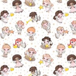 Tkanina złocona aniołki beżowe na białym tle