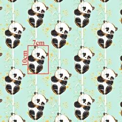 Tkanina złocona pandy z bambusem na miętowym tle