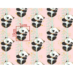 Imagén: złocona pandy z bambusem na różowym tle