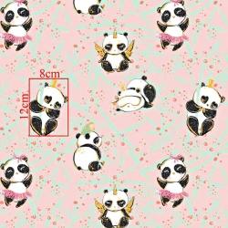 Tkanina złocona szalone pandy na różowym tle