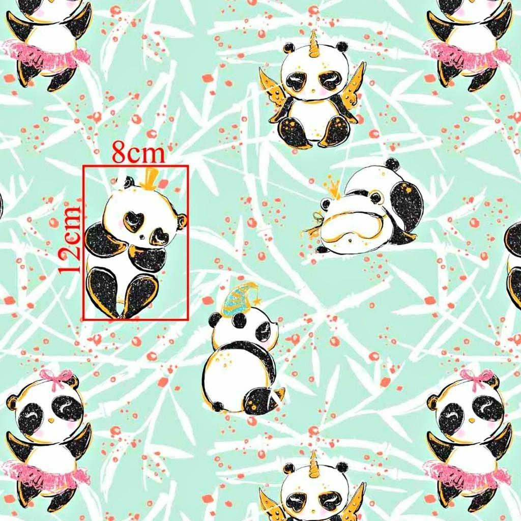 Tkanina złocona szalone pandy na miętowym tle