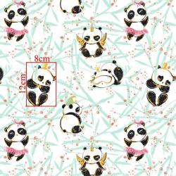 Tkanina złocona szalone pandy na białym tle