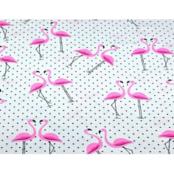 Tkanina w flamingi z kropkami czarnymi na białym tle