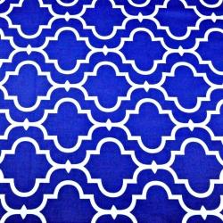 Tkanina Mozaika orientalna biała na granatowym tle