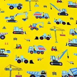Tkanina w Roboty budowlane niebieskie na żółtym tle