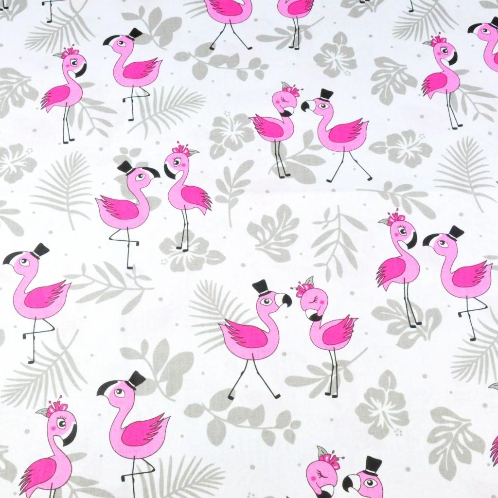 Tkanina w flamingi różowe z listkami na białym tle