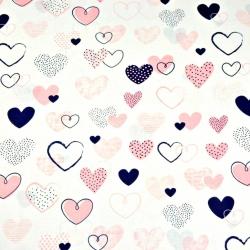 Tkanina w serca wzorzyste różowo granatowe na białym tle