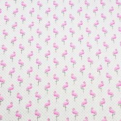 Tkanina w flamingi MINI z kropkami czarnymi na białym tle