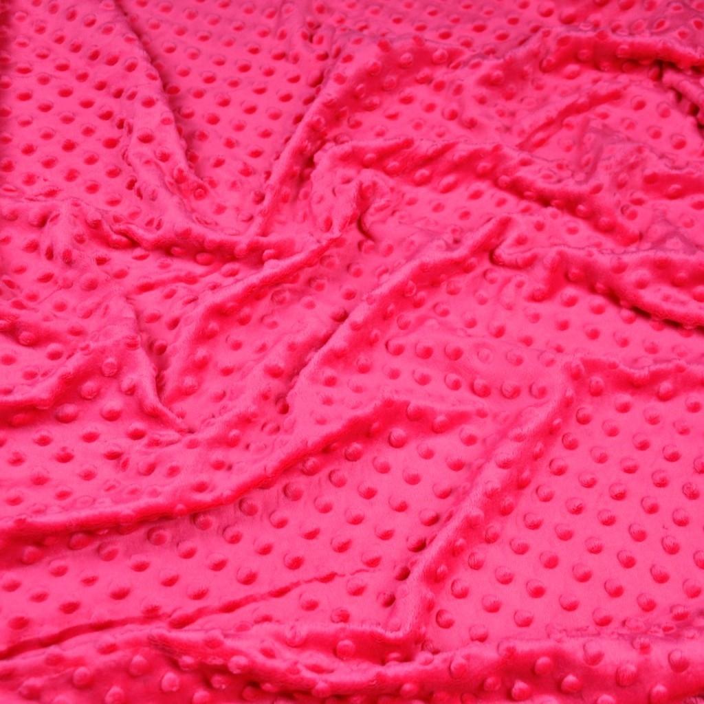 Materiał Minky Grube 380g/m2 różowy cukierkowy