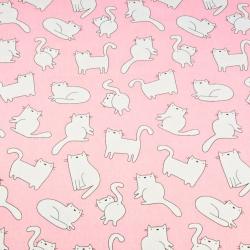 Tkanina w kotki białe na różowym tle
