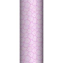 Tkanina geometryczna rozeta biała na różowym tle