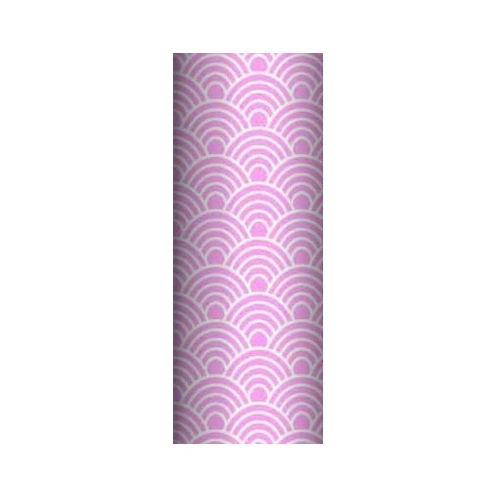 Tkanina geometryczne łuski białe na różowym tle
