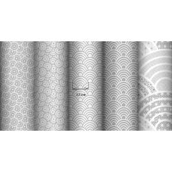 Tkanina geometryczne łuski białe na szarym tle