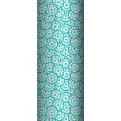 Tkanina geometryczna rozeta biała na turkusowym tle