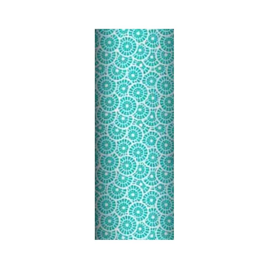Tkanina geometryczna rozeta turkusowa na białym tle