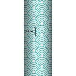 Tkanina geometryczne łuski turkusowe na białym tle