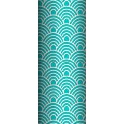 Tkanina Bawełna geometryczne łuski białe na turkusowym tle