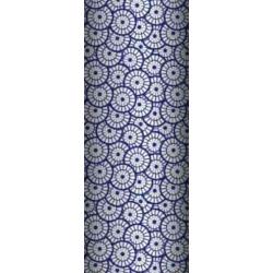 Tkanina geometryczna rozeta biała na granatowym tle