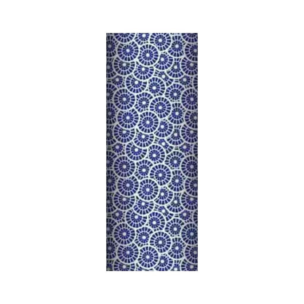 Tkanina geometryczna rozeta granatowa na białym tle