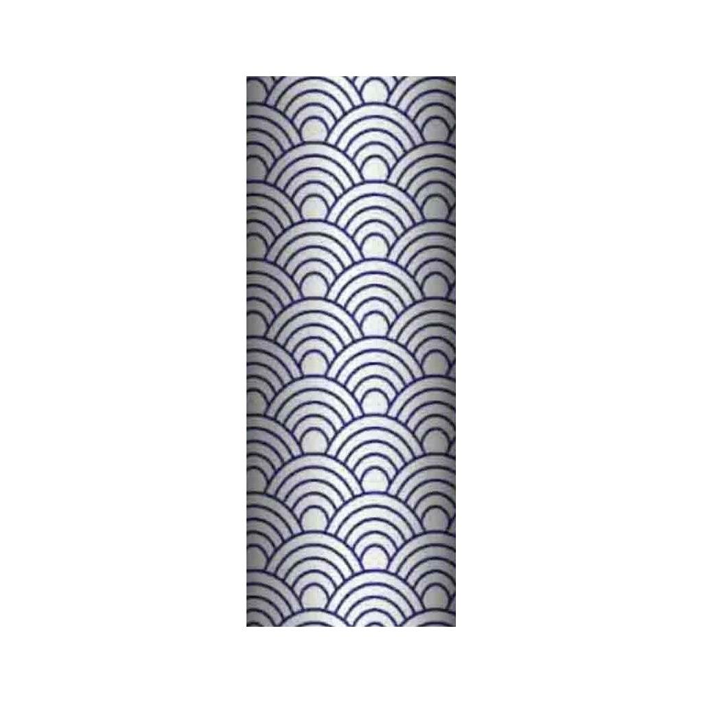 Tkanina geometryczne łuski granatowe na białym tle