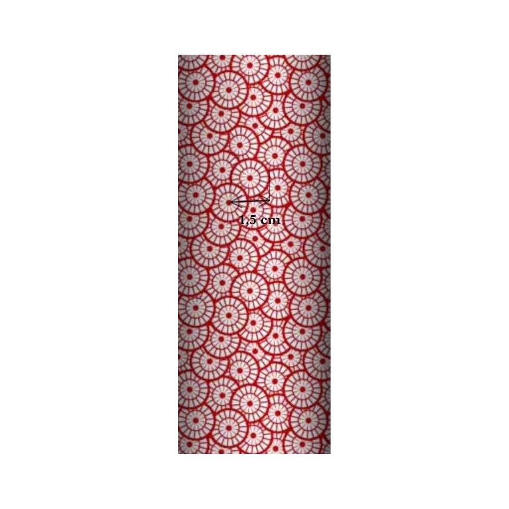 Tkanina geometryczna rozeta biała na czerwonym