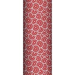 Tkanina geometryczna rozeta czerwona na białym