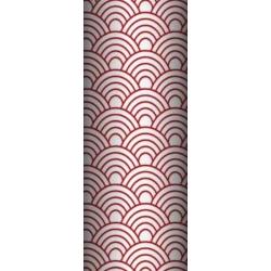 Tkanina geometryczne łuski czerwone na białym tle