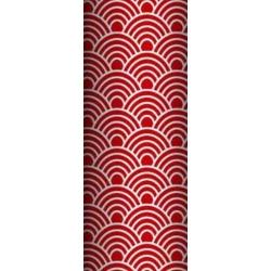 Tkanina geometryczne łuski białe na czerwonym tle