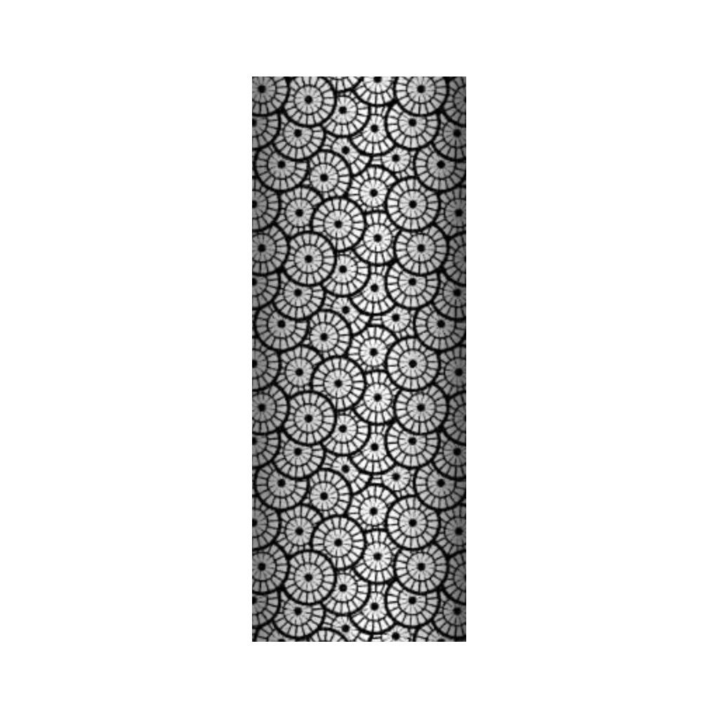 Tkanina geometryczna rozeta biała na czarnym tle