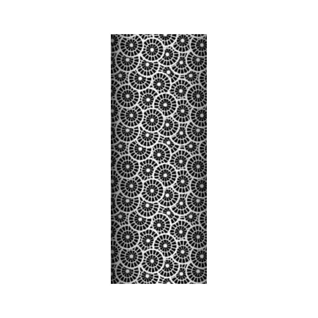 Tkanina geometryczna rozeta czarna na białym tle